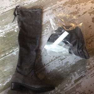 Faux suede tall flat boots in a size 8 1/2